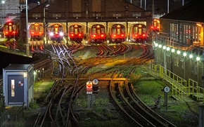 Picture night, lights, metro, England, London, train, depot