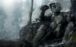 Wallpaper star wars, weapons, rifle, binoculars, shelter, warrior, trees