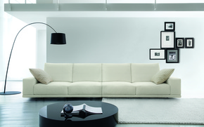 Wallpaper white, photo, table, sofa, frame, floor lamp