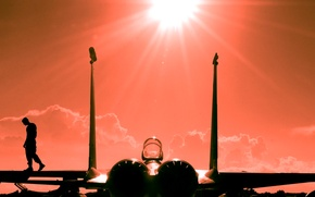 Picture the sky, the sun, rays, sunset, the plane, pilot