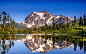 Picture the sky, snow, trees, nature, lake, reflection, mountain