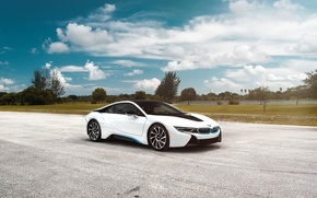 Picture BMW, Car, Clouds, Sky, Front, White, Matte