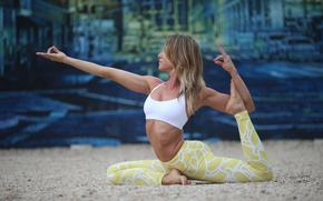 Picture woman, pose, yoga, technique, stretching