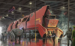 Picture train, hangar, symbol, art
