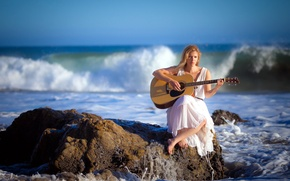 Picture sea, girl, music, guitar