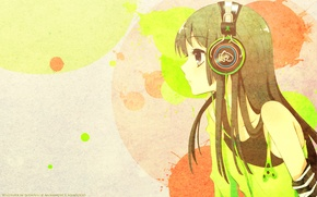 Picture anime, headphones, art, mio akiyama, k-on, light music