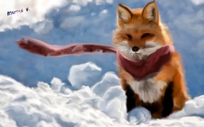 Picture the wind, scarf, art, Fox, Fox