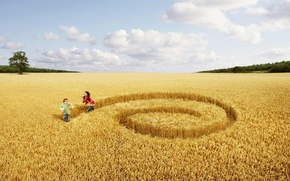 Picture field, girl, people, mood, boy
