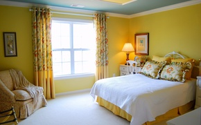 Picture the sun, yellow, design, style, room, bed, interior, chair, pillow, window, apartment