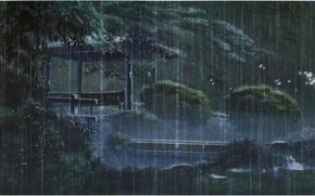 Picture bench, Park, rain, the evening, gazebo, the shower, kotonoha no niwa, garden of fine words, …
