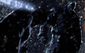 Wallpaper snow, winter, batman, Batman: Arkham Origins, villain, night, hero, bane
