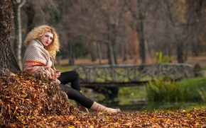 Picture autumn, look, leaves, girl, trees, lake, Park, blonde
