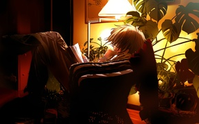 Wallpaper the evening, anime, book