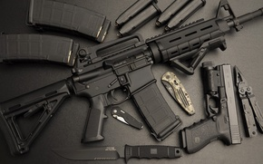 Picture gun, knife, machine, assault rifle, Ar-15