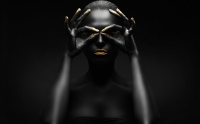 Picture gold, black, figure, pose, makeup