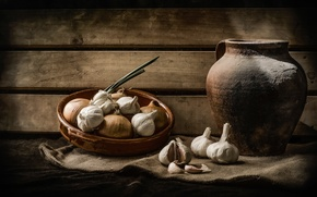 Picture bow, bowl, pitcher, still life, garlic