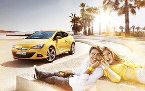 Wallpaper guy, shore, headphones, sea, Astra GTC, emotions, girl, music, Palma, the sun, Opel, yellow, relax, ...