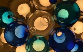 Picture glass, light, balls, color, lamp