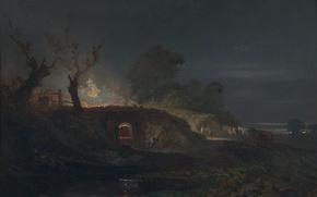 Picture light, landscape, night, picture, William Turner, Limekiln at Coalbrookdale