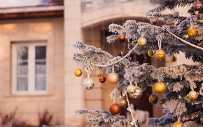 Picture winter, balls, snow, branches, house, toys, tree, spruce, New Year, Christmas, tree, the scenery, Christmas, …