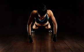 Picture woman, fitness, workout, pushups, shadows