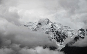 Picture clouds, snow, white, Mountain, top, black