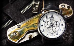 Wallpaper design, knife, clock