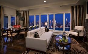 Wallpaper room, sofa, interior, skyscrapers, USA, apartment, megapolis, new york, penthouse, new York, Wallpaper, the city, ...