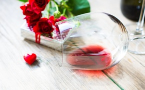 Picture flowers, prezent, Board, holiday, glass, wine, roses