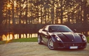 Picture Sunset, Auto, River, Ferrari, GTB, 599, Supercar