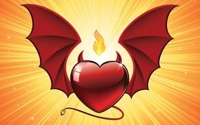 Wallpaper horns, wings, Heart, background, fire