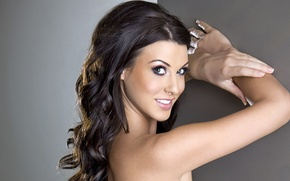 Picture smile, brunette, Alice Goodwin, hands, pose, makeup, arms