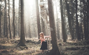 Picture forest, girl, skull, skeleton, Victoria Cadisch