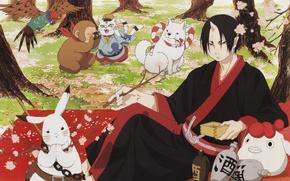 Picture hare, dog, spring, Sakura, monkey, the camera, parrot, picnic, demons, shiro, hoozuki, hoozuki no reitetsu, …
