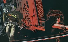Picture night, street, cross, katana, blade, two, the fight, enemies, akira, shiki, togainu no chi