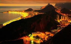 Wallpaper sea, lights, Brazil, night, Rio de Janeiro, the city