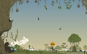 Wallpaper vector, trees, animals