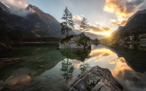 Picture water, the sun, clouds, trees, landscape, mountains, nature, lake, stones, Germany, Alps