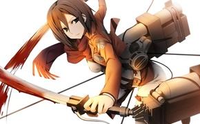 Picture look, girl, flight, weapons, blood, gesture, the cable, art, shingeki no kyojin, mikasa ackerman, kamitsurugi …