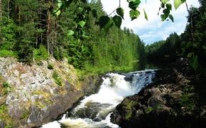 Picture water, waterfall, green, Karelia, Kivach