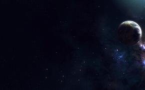 Wallpaper stars, light, space, planet, satellite