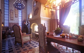 Picture design, style, room, interior, fireplace, Dom-castle