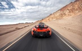 Picture McLaren, Orange, Speed, Death, Sand, Supercar, Valley, Hypercar, Exotic, Rear, Volcano, Warp