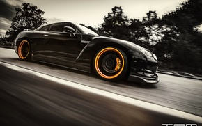 Picture road, black, speed, Nissan, GT-R