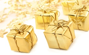 Wallpaper gifts, tape, holiday, gift, Golden, gold, new year, stars, new year, star, bow