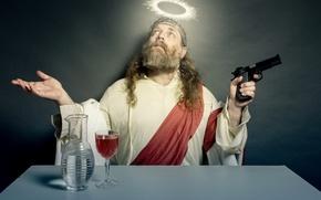 Picture gun, wine, people, mania