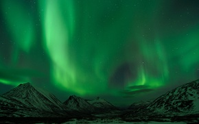 Wallpaper the sky, stars, mountains, night, Northern lights