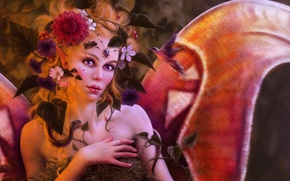 Picture girl, flowers, birds, wings, art, Tanya Varga
