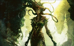 Picture girl, hair, monster, tentacles, evil, Magic The Gathering, Alexia Briclot, Vraska the Unseen