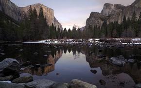 Picture sunset, mountains, rocks, valley, yosemite
